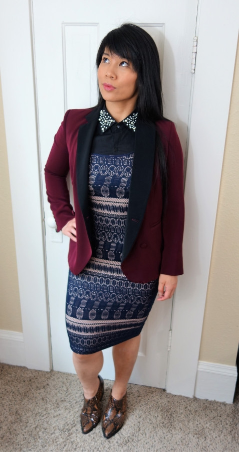 Kat wearing maximalist outfit with blazer and dress