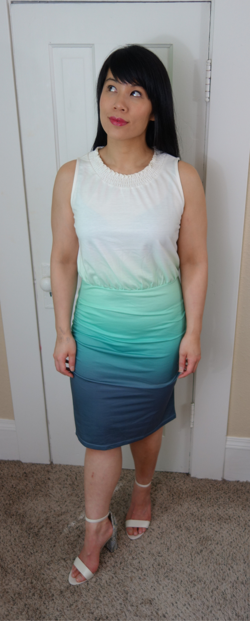 Kat wearing an ombre dress