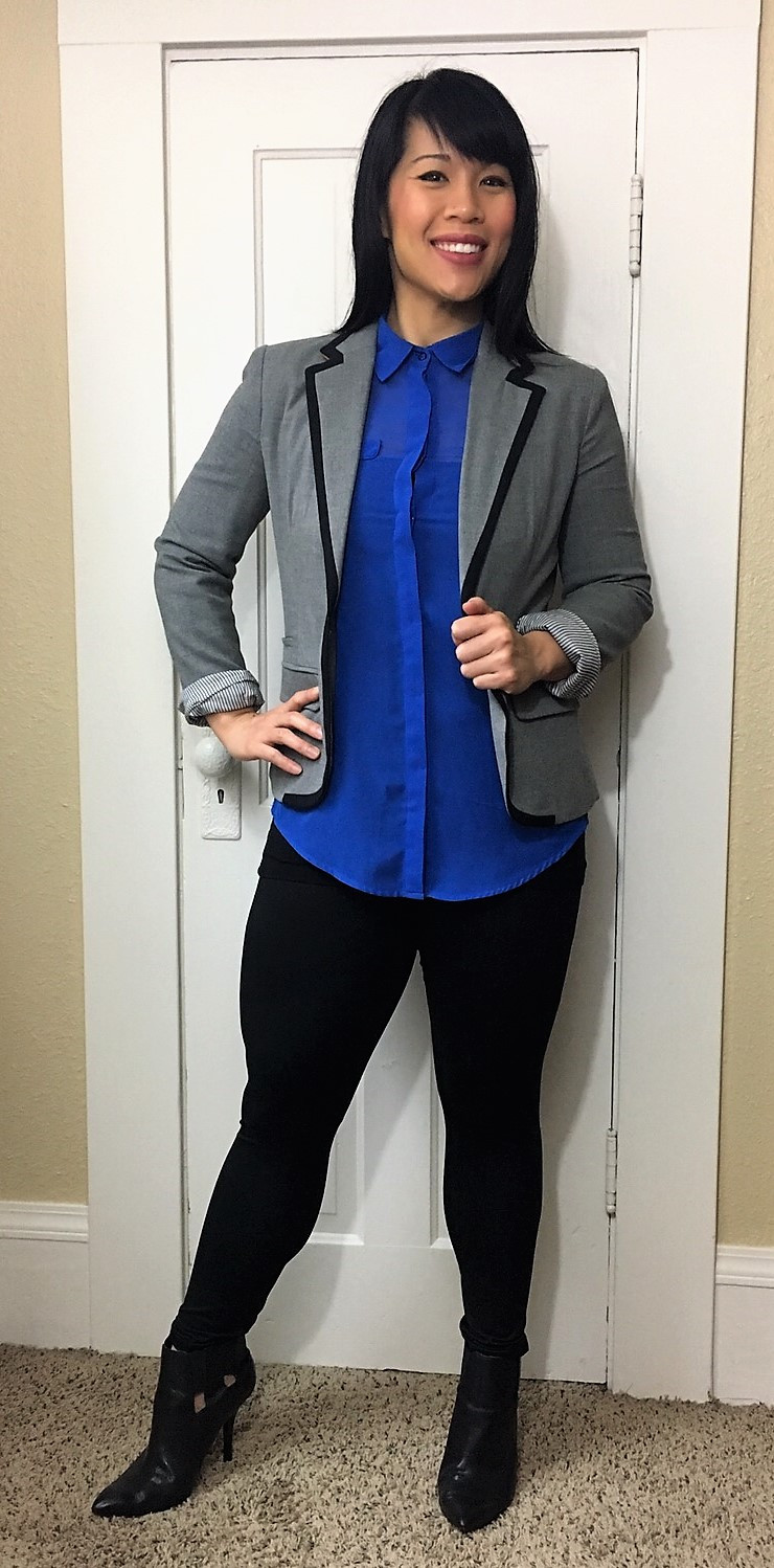 Kat wearing blazer with high-low tank and yoga pants