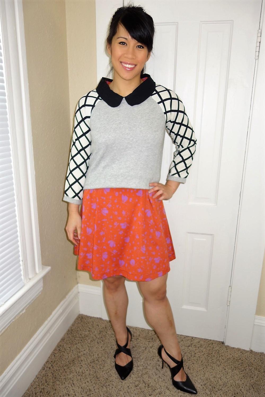 Kat wearing Peter Pan collar dress with criss cross sweater