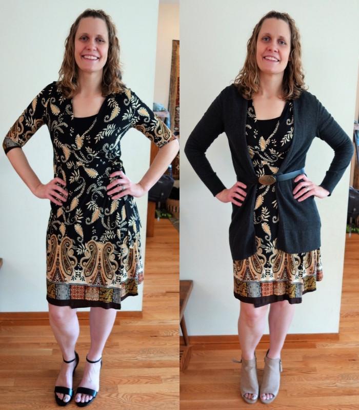 Lee Ann Moyer wearing vintage wrap dress looks