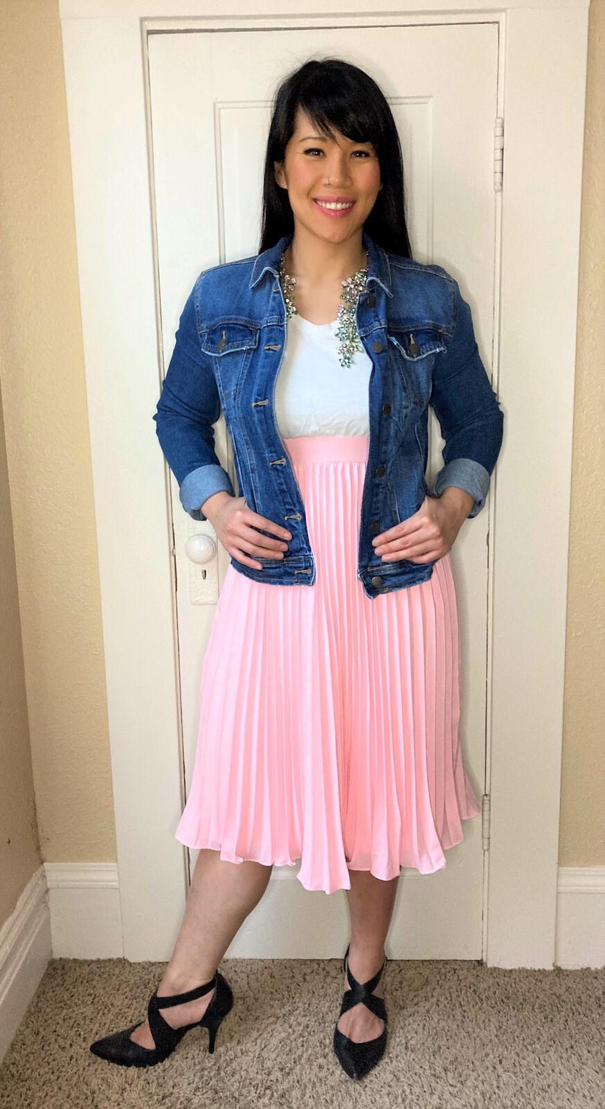 Kat Depner holiday style pink skirt jean jacket