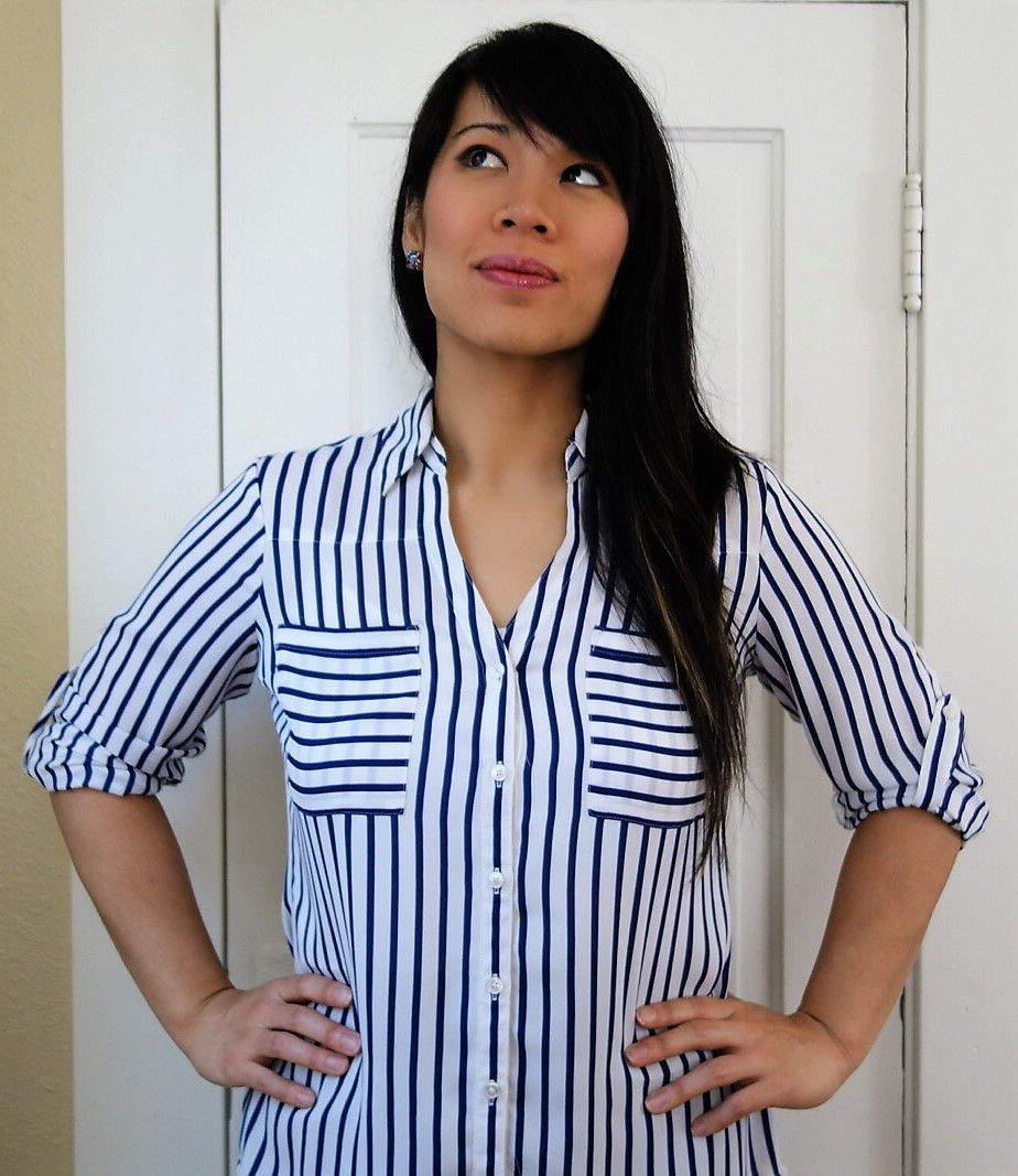 Kat wearing striped portofino blouse