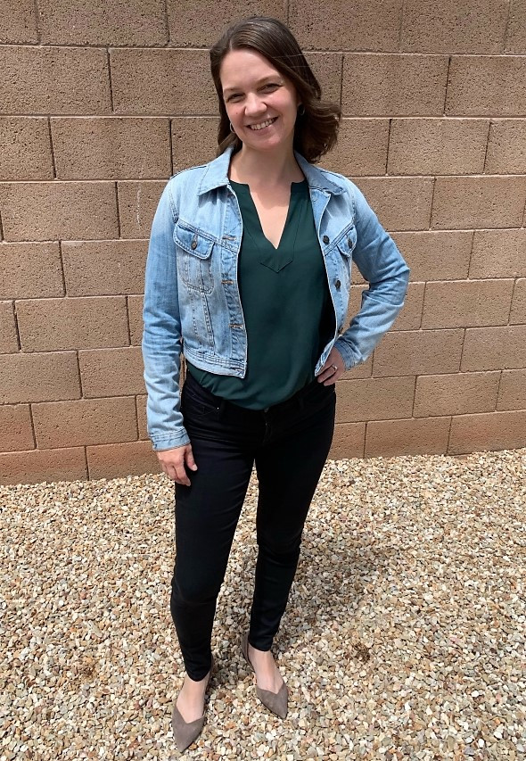 Annie with jean jacket v neck and black midrise jeans