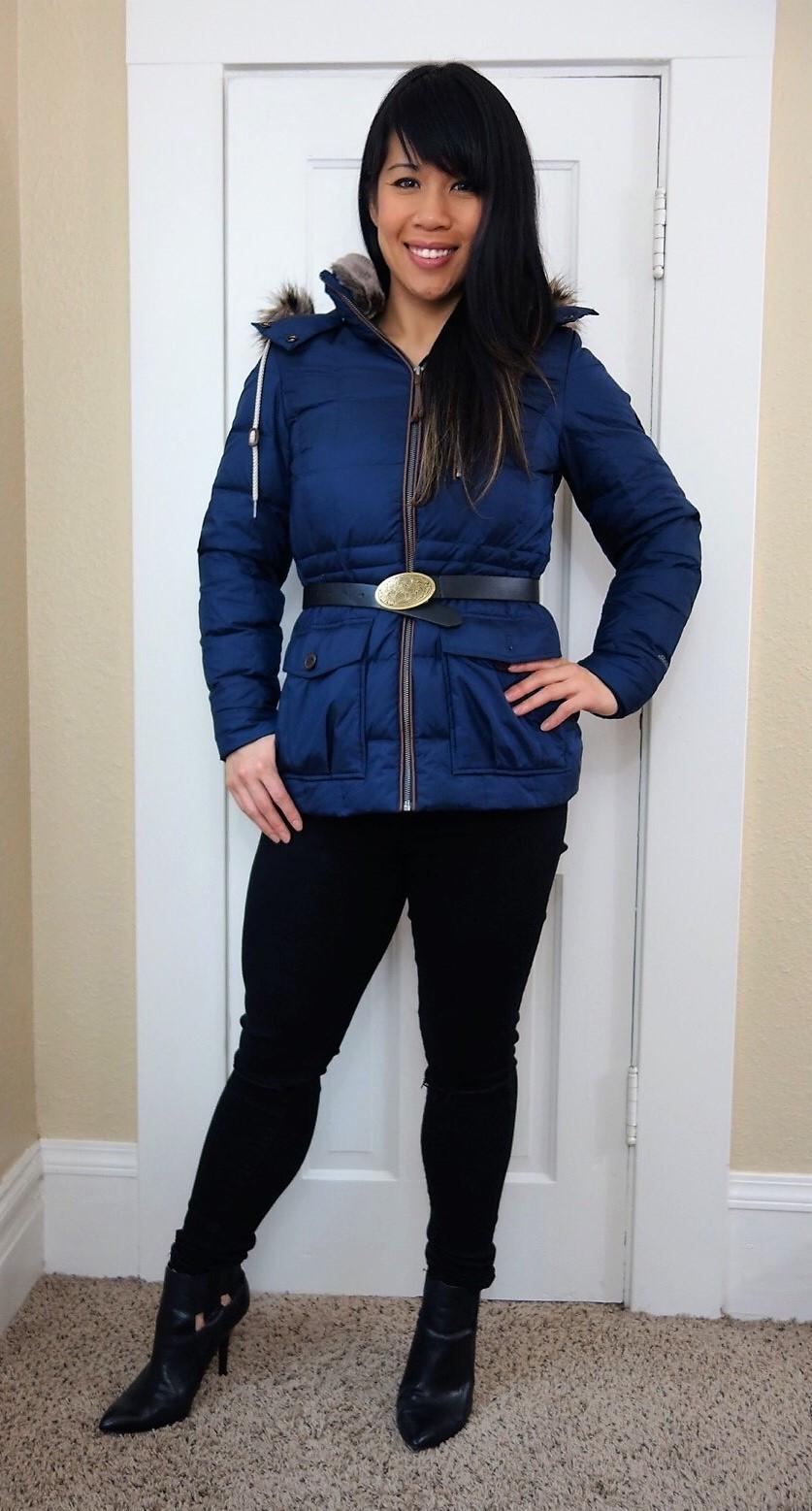 Kat wearing Eddie Bauer down jacket with belt