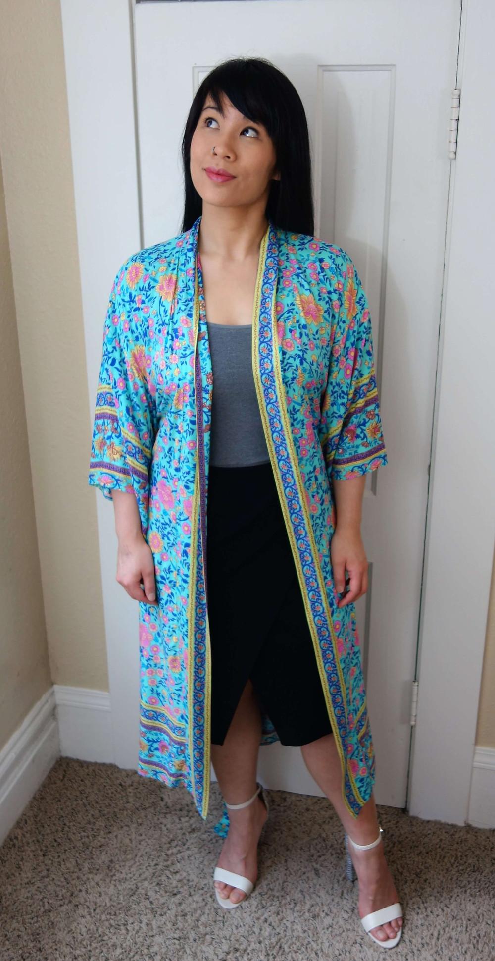 Kat wearing boho kimono