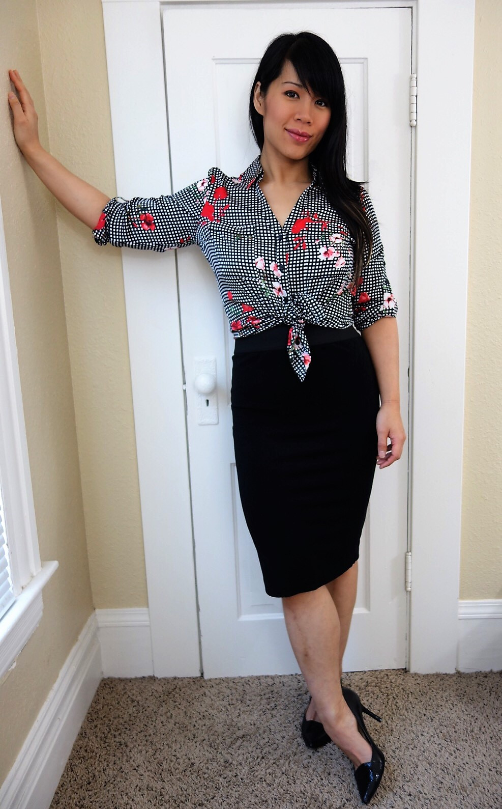 Kat wearing patterned portofino blouse