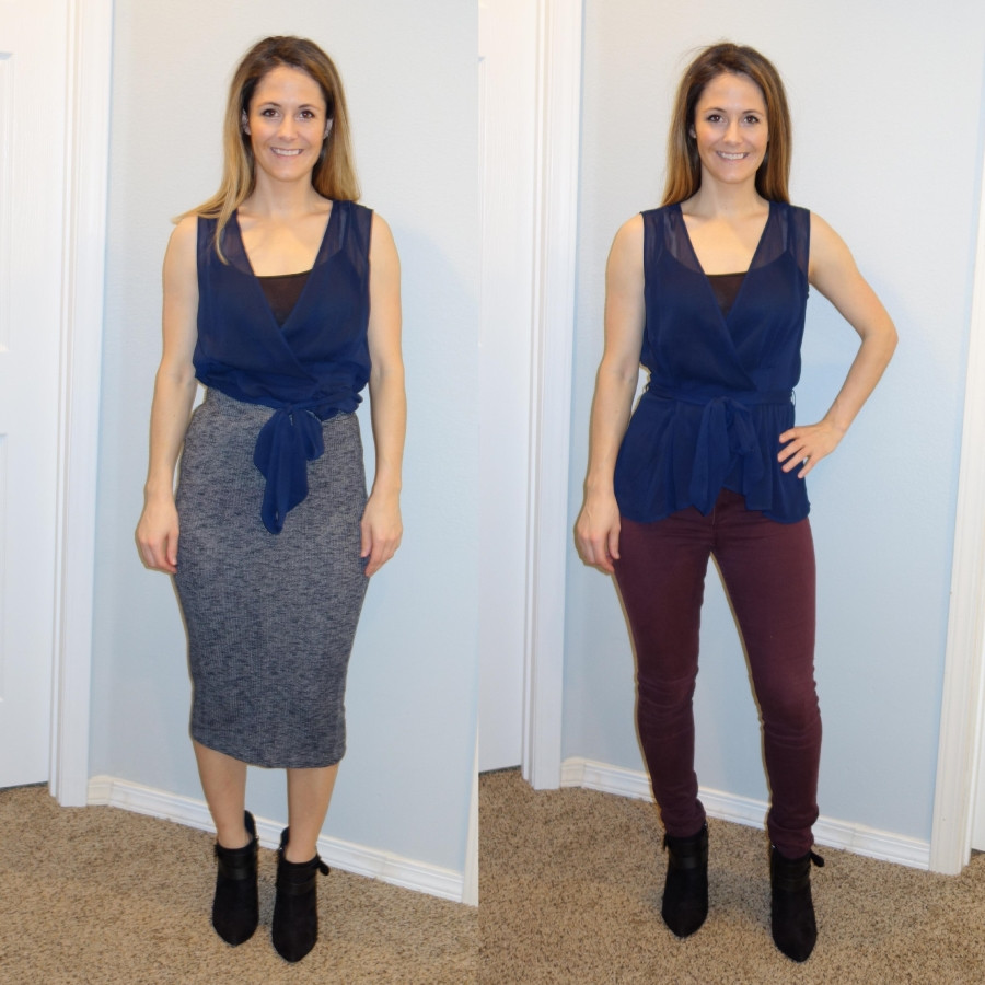 Sara Halcumb wearing faux wrap top outfit