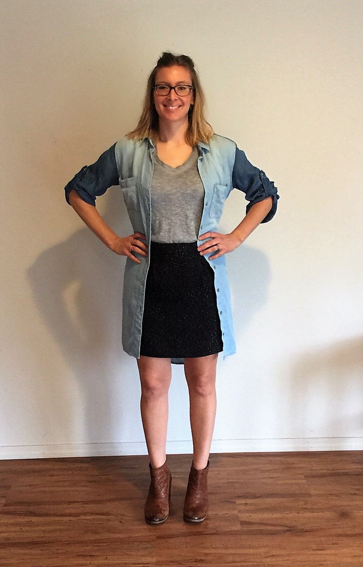 Maria wearing denim dress open with skirt and v neck