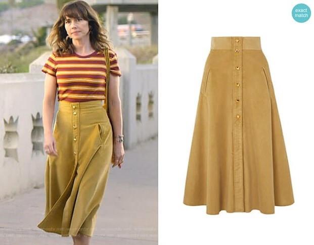 Judy Hale's Corduroy Skirt and Tee
