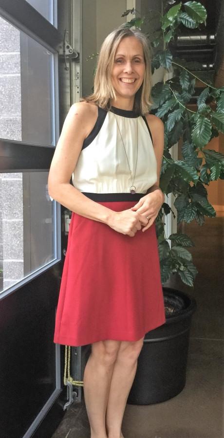 Kristin Schuchman wearing red and white dress