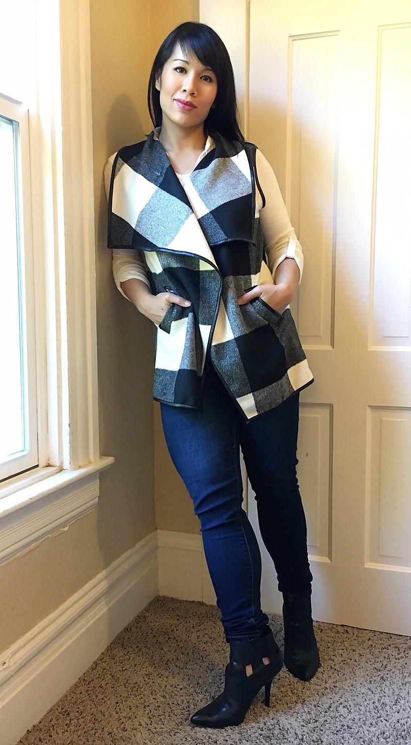 Kat wearing lapel vest during postpartum