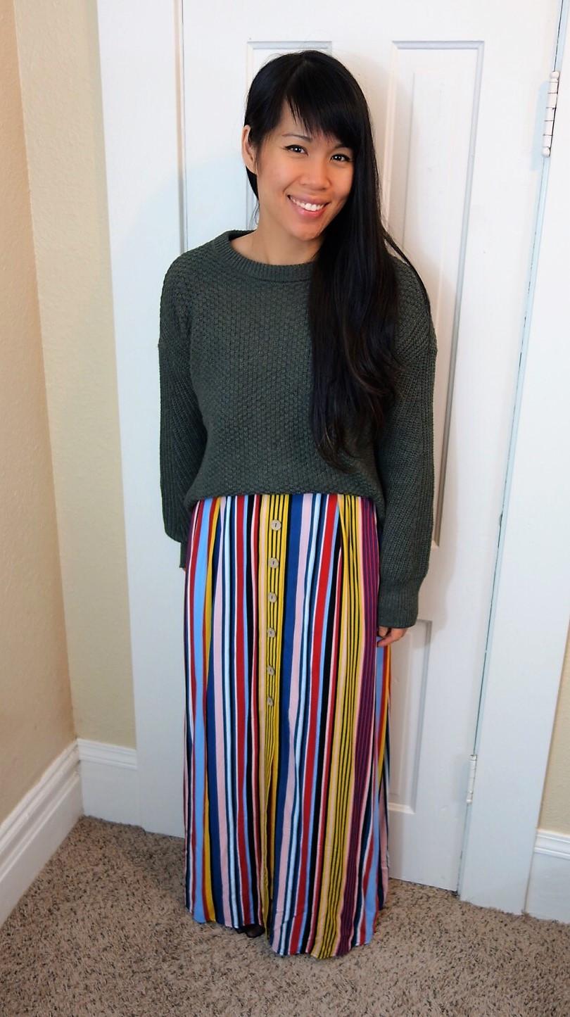 Chunky Sweater Striped Dress Layered Look