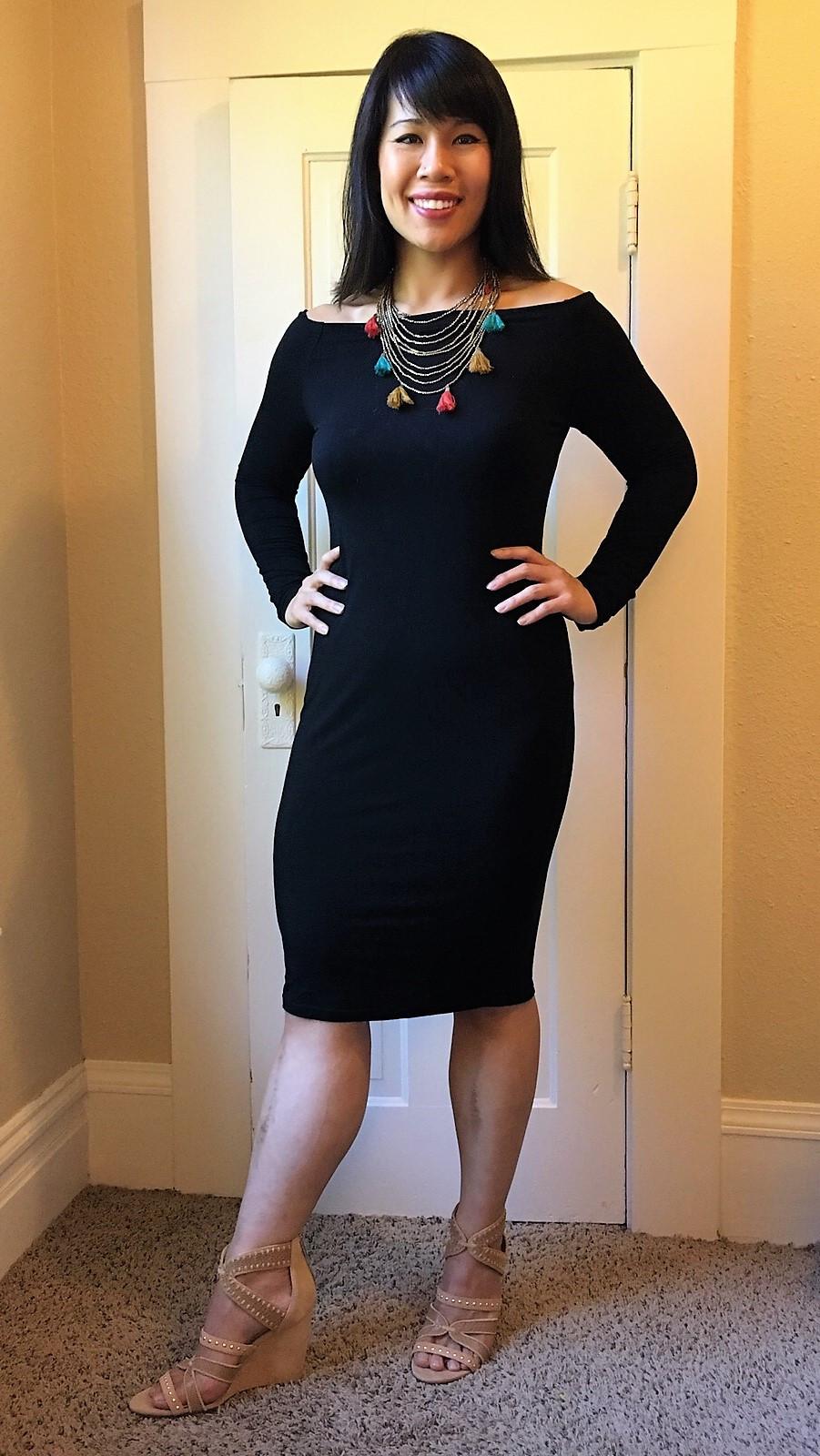 Kat wearing off the shoulder dress during postpartum