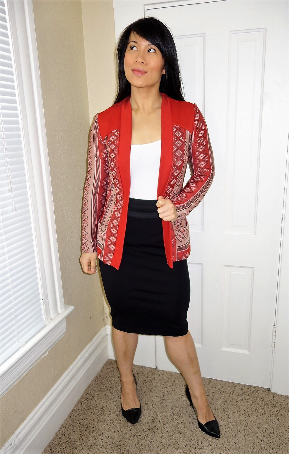 Kat Depner wearing tribal blazer and pencil skirt