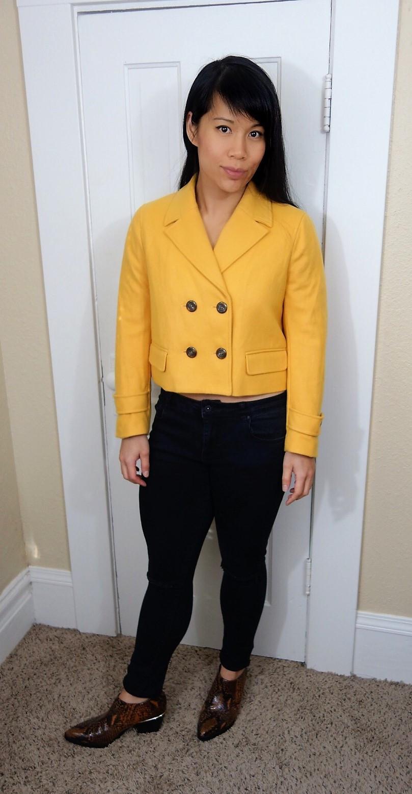 Kat wearing cropped jacket
