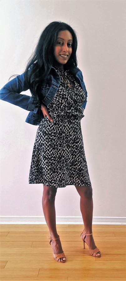 Cendu Param wearing jean jacket and H&M dress