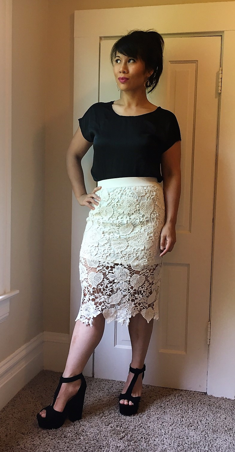 Kat wearing white lace skirt found in a thrift store
