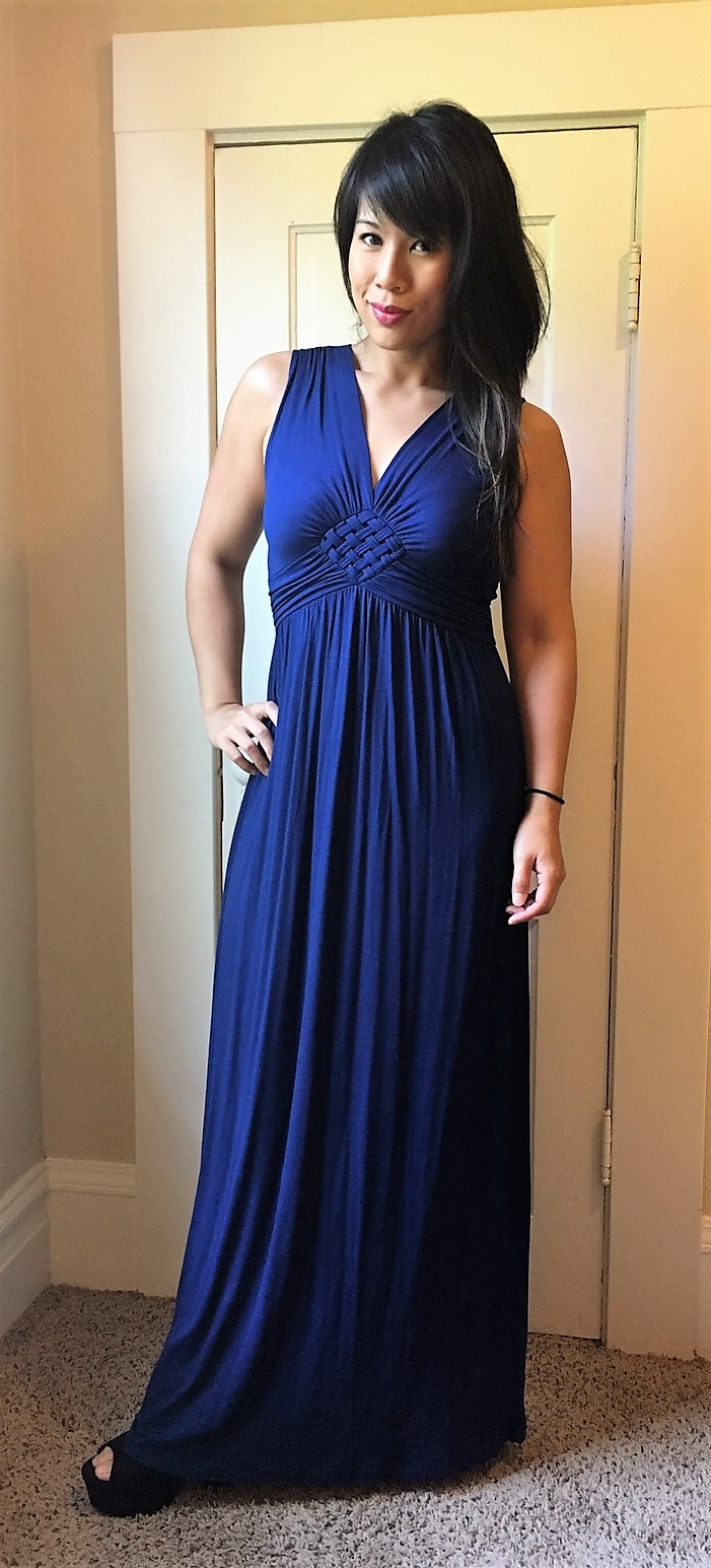 Kat wearing an empire waist maxi dress in preparation for Portland brunch