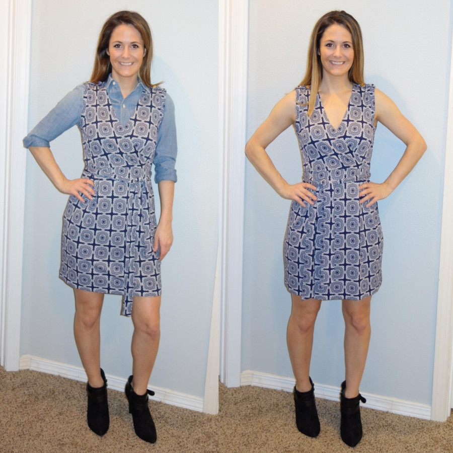 Sara Halcumb wearing chambray and medallion dress combo