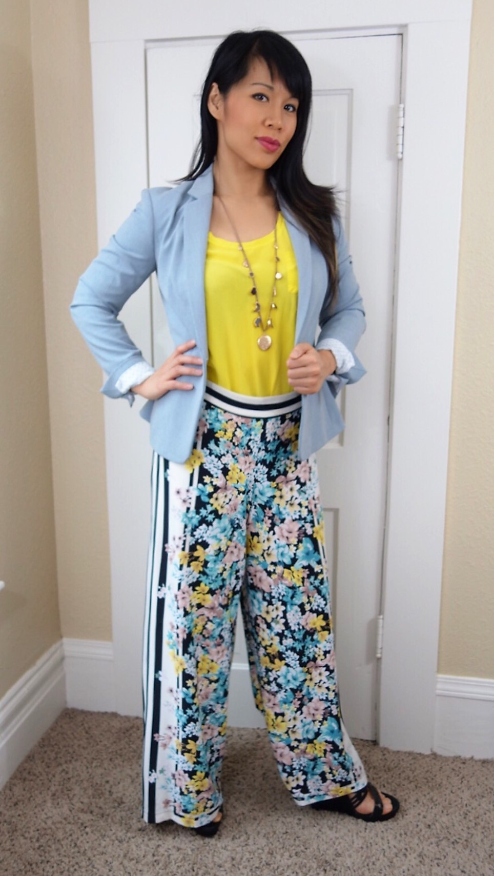 Kat wearing palazzo pants with power blazer