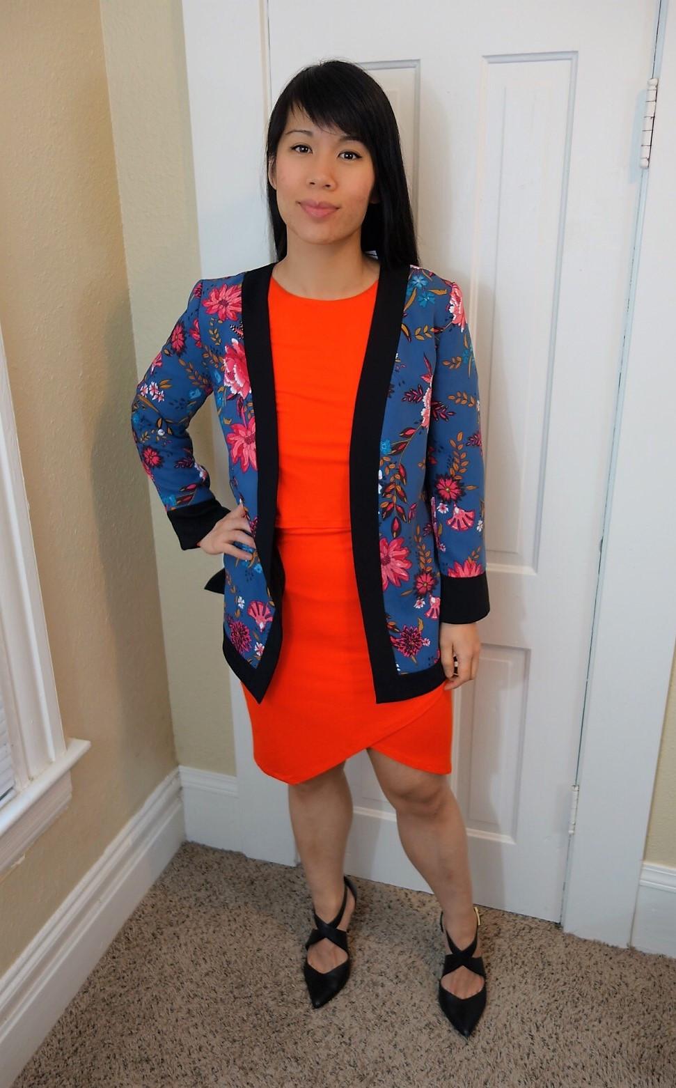Floral Blazer Orange Dress Layered Look