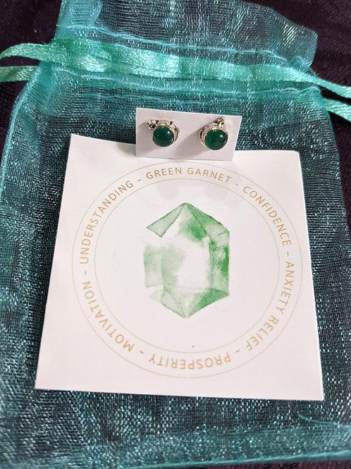 Sterling Silver Green Garnet Stud Earrings