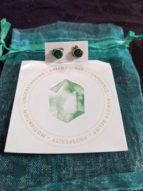 Sterling Silver Faceted Green Garnet Stud Earrings