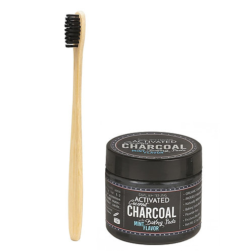 Activated Charcoal Teeth Whitening Powder with Bamboo Toothbrush