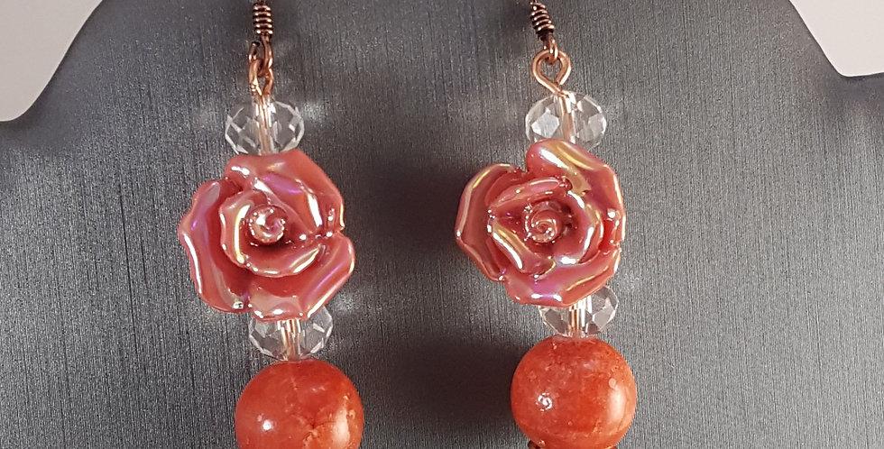 Copper Headpin Ceramic Rose Earrings - Pink Rose Red Agate