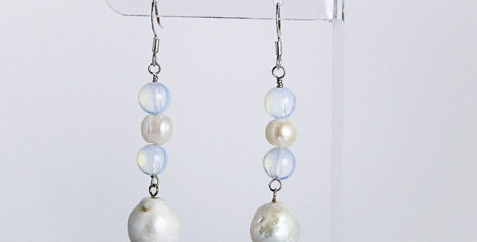 Moonstone and Freshwater Pearl Earrings