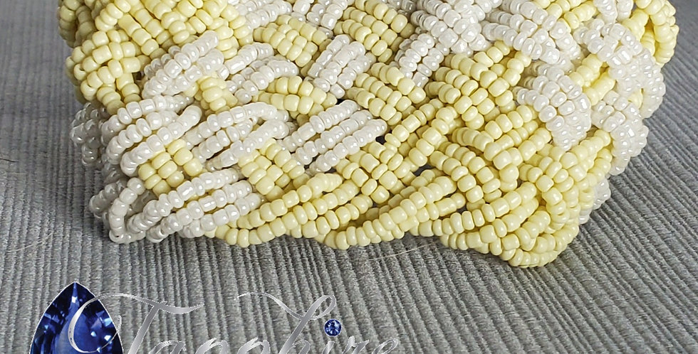 Wide Braided Seed Bead - Cream, White