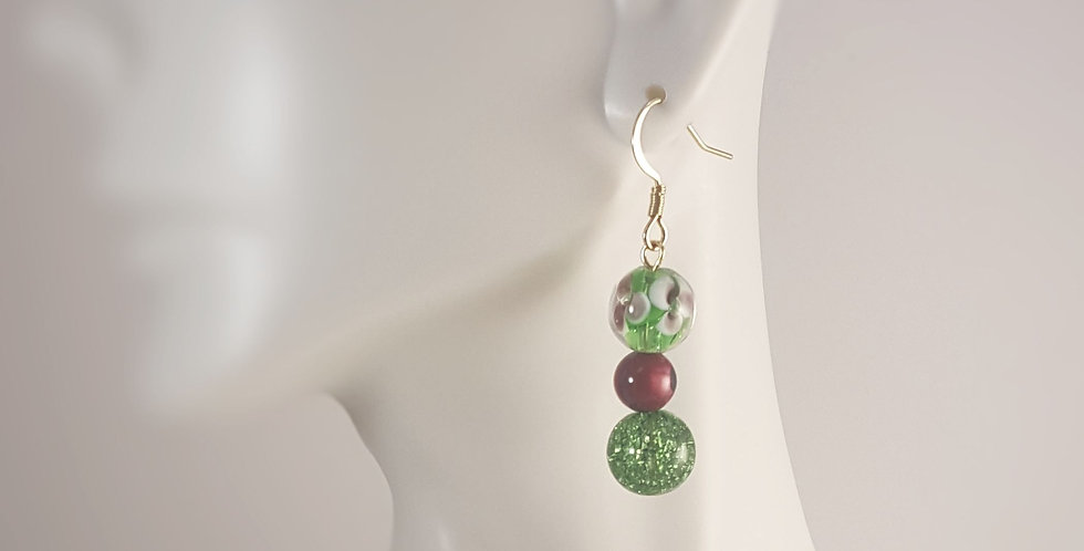 Spring Lampwork Glass Earrings - Green Floral Pink Green Crackle