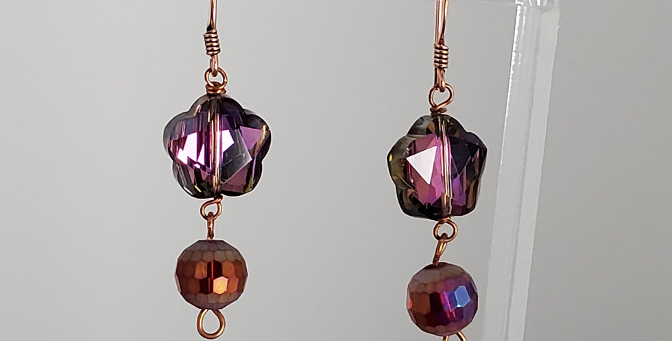 Copper and Faceted Glass Flower with Red Drop Earrings