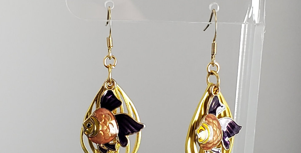 Gold Enameled Fish Earrings - Purple Gold
