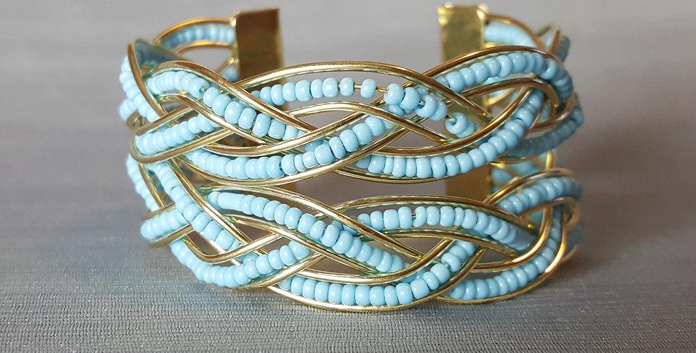 Wire Bead Cuff Bracelet - Light Blue, Gold