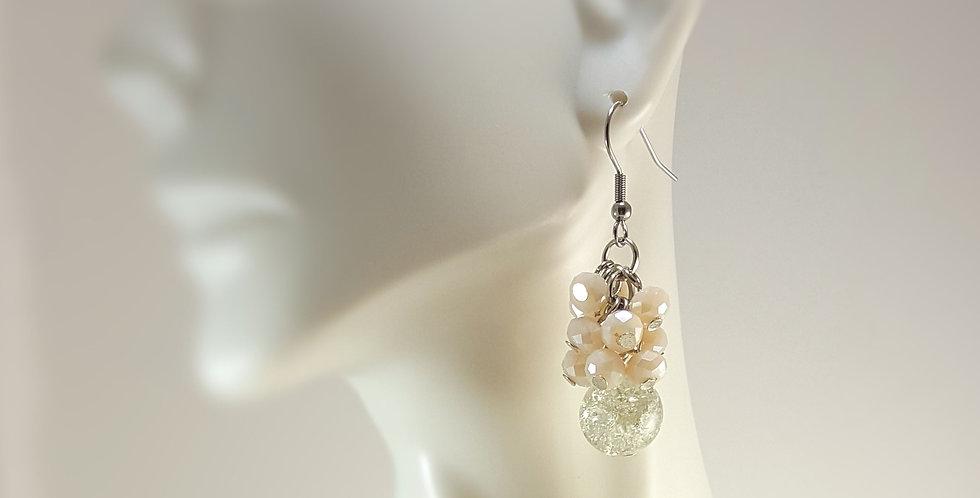 Crackle Cluster Earrings - Peach