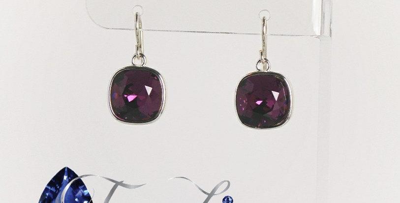 Cushion Shaped Swarovski Crystal Earrings - Amethyst