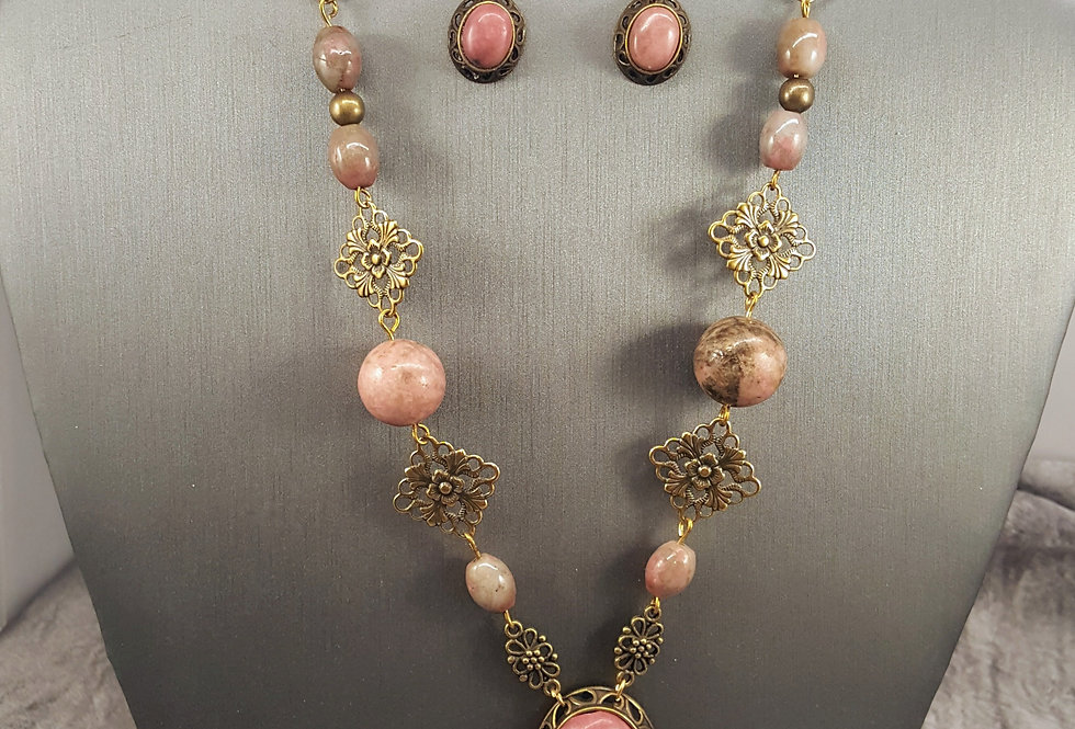 Antiqued Brass Rhodonite Necklace