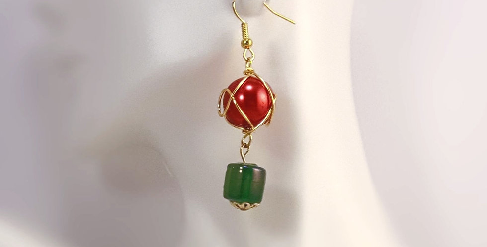 Gold Wire Wrapped Red and Green Earrings