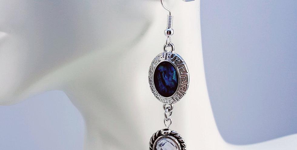 Paua Shell Earrings - Oval - Oval