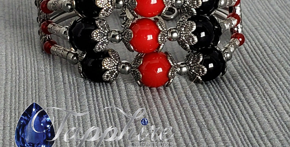 Red, Black and Silver Memory Wire Bracelet