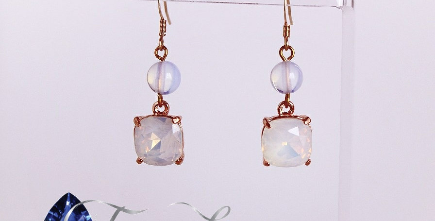 Moonstone & Sea Opal Earrings