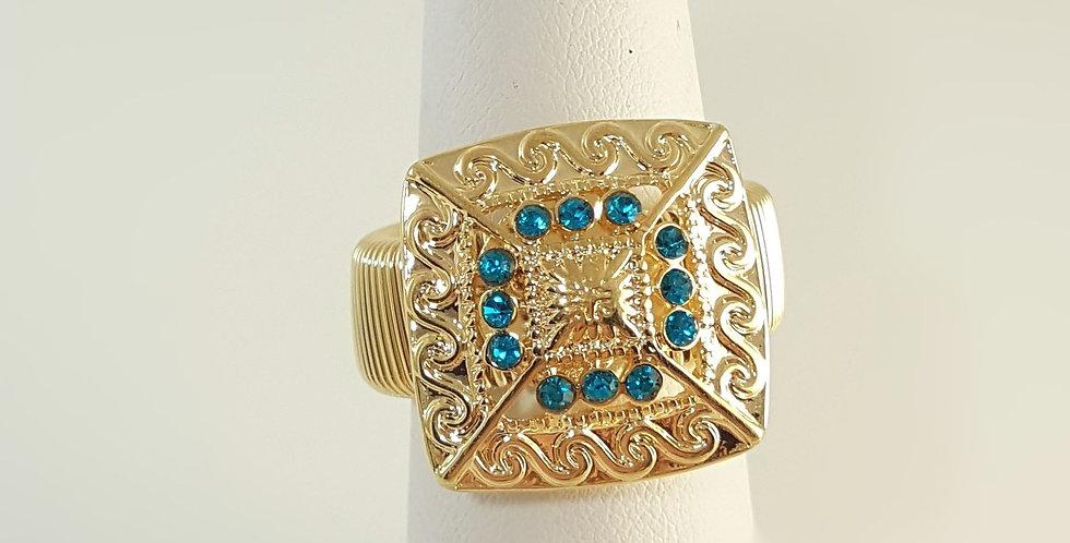 Turquoise Blue Rhinestone Ring