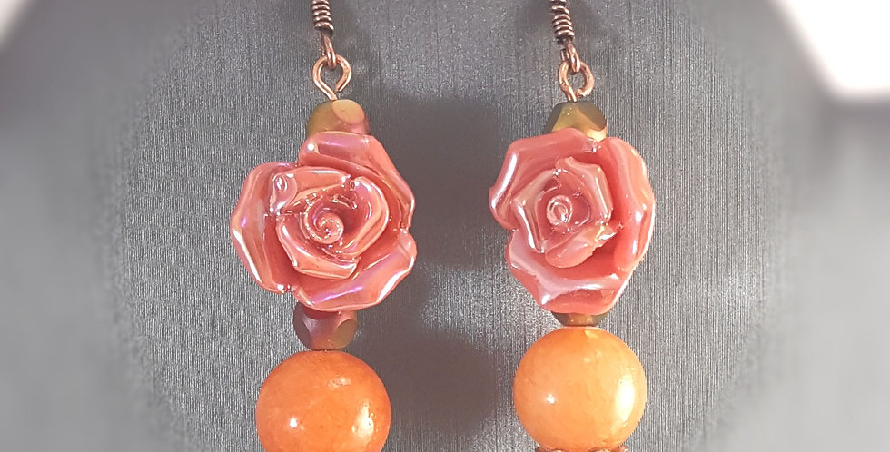 Copper Headpin Ceramic Rose Earrings - Pink Rose Orange Agate