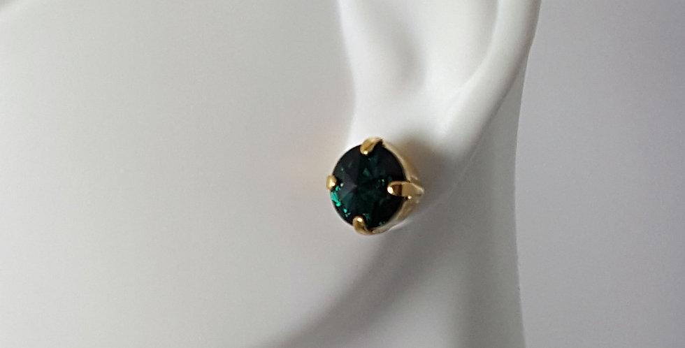 SS39 Swarovski Earrings- Gold Emerald