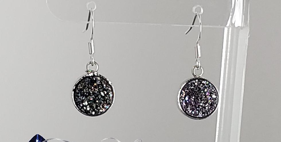 Druzy Earrings - Black