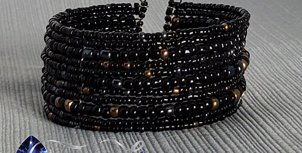 Memory Wire Seed Bead Cuff - Black, Gold