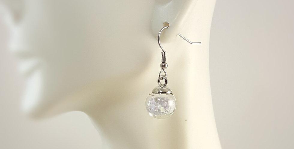 Mini Confetti Glass Earrings - White
