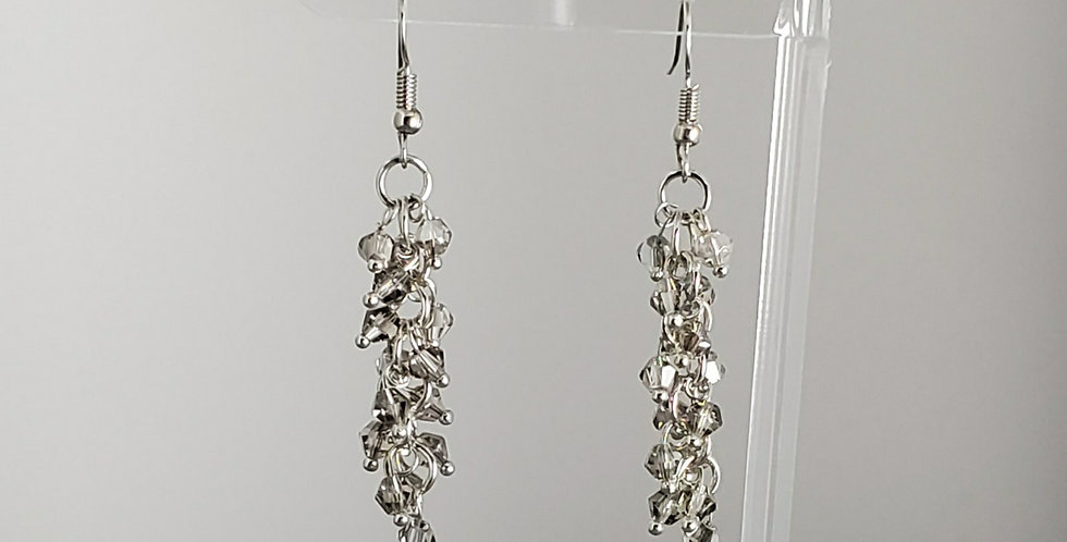 Bicone Cluster Earrings - Clear